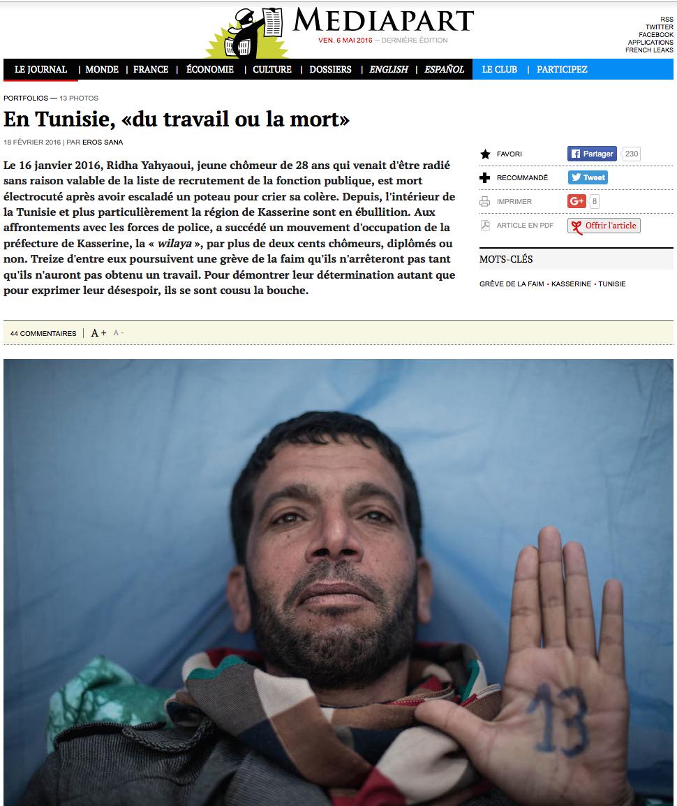 En Tunisie, du «travail ou la mort»