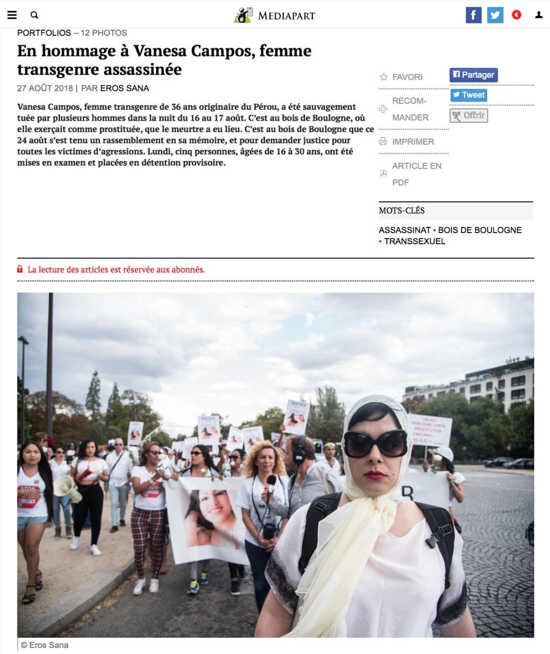 En hommage à Vanesa Campos, femme transgenre assassinée