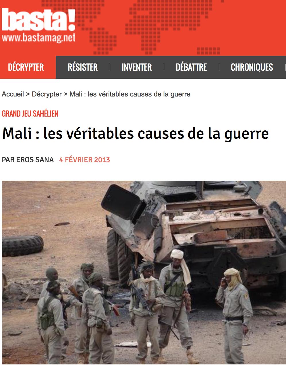 Mali : les véritables causes de la guerre